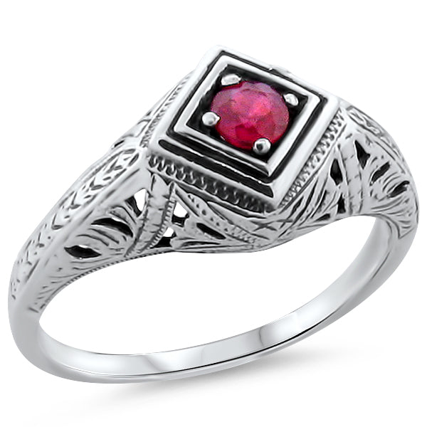 Genuine Ruby Antique Art Deco Style 925 Sterling Silver Filigree Ring #30186