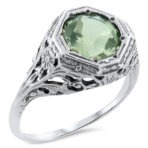 Genuine Lime Citrine .925 Sterling Silver Antique Style Ring, #30192