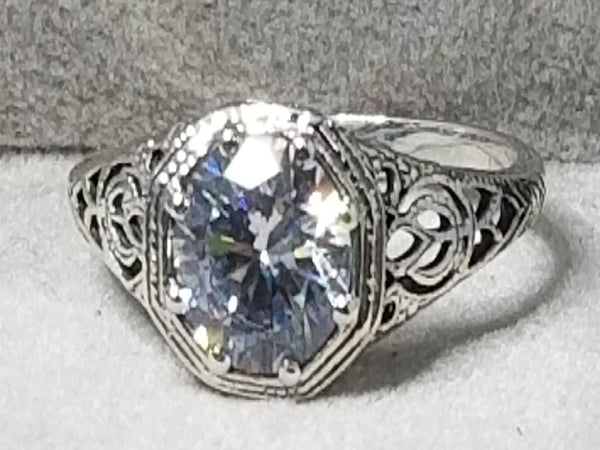 925 Sterling Silver Antique Style Wedding Engagement Cubic Zirconia Ring #31146
