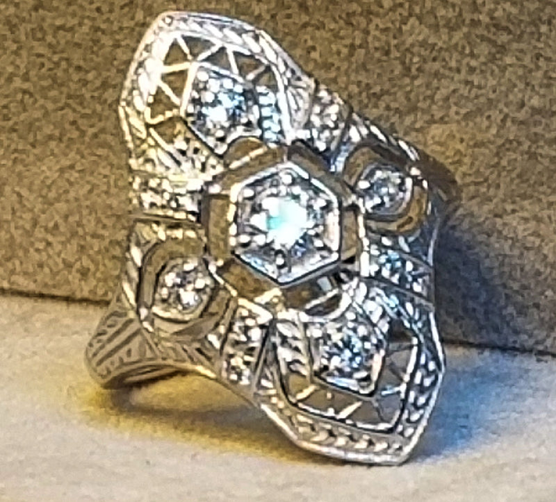925 Sterling Silver with Platinum Finish Art Deco Antique Style CZ Ring #31157