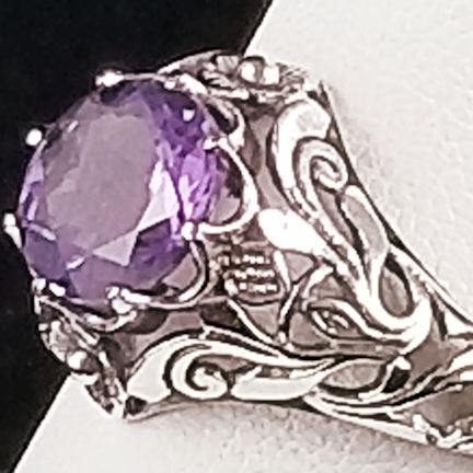 1 3/4 Ct. Genuine Brazilian Amethyst Ring, Sterling Silver #30567