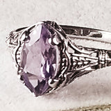 925 Sterling Silver Antique Style Genuine Brazilian Amethyst Filigree Ring #30672