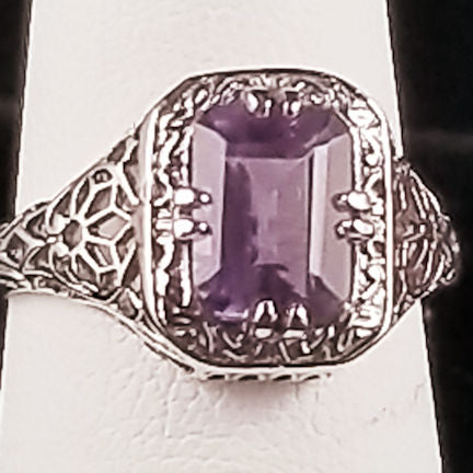 925 Sterling Silver Art Deco Antique Style 1.5 Carat Genuine Brazilian Amethyst Filigree Ring #30677