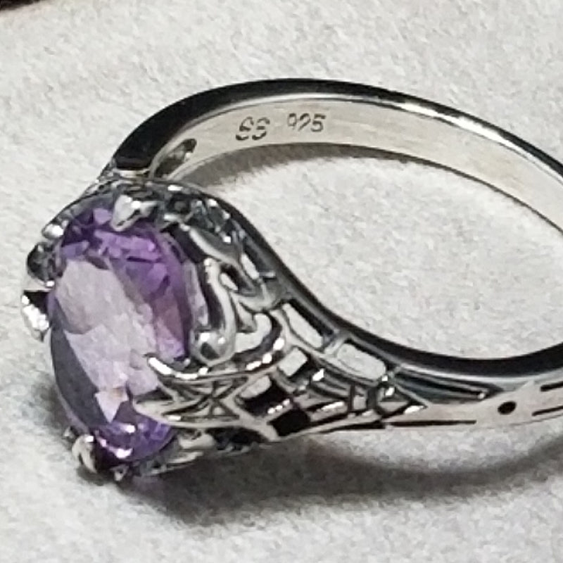 925 Sterling Silver Art Deco Antique Style Genuine Amethyst Filigree Ring #30441