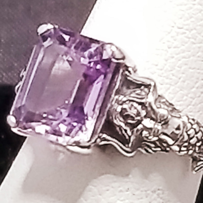 925 Sterling Silver Antique Style 3 Carat Genuine Brazilian Amethyst Mermaid Ring #30826
