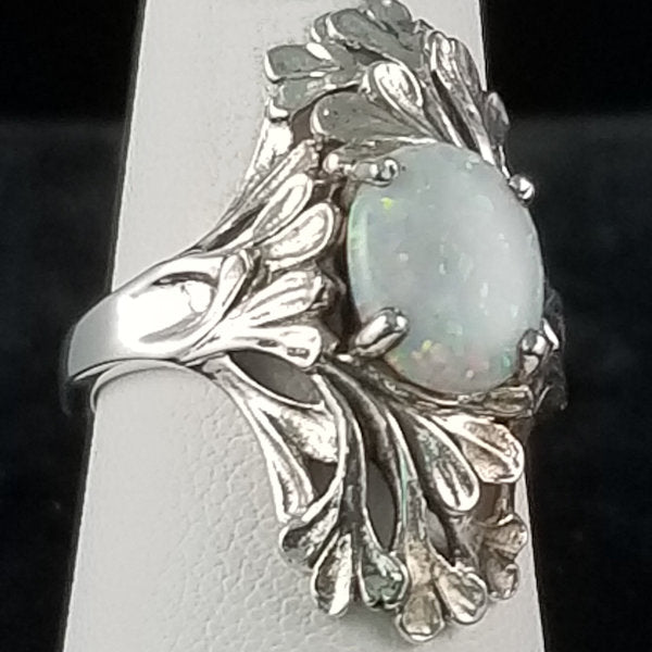925 Sterling Silver Antique Art Nouveau Style Synthetic White Opal Ring #30917