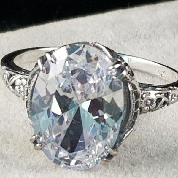 925 Sterling Silver Antique Art Nouveau Style Cubic Zirconia Wedding/Engagement Ring #30946
