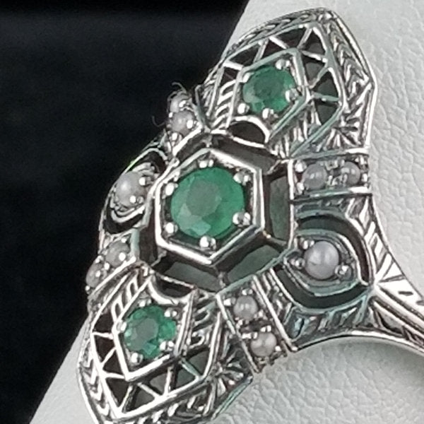 Genuine Emerald & Freshwater Pearl Ring, Sterling Silver #30363