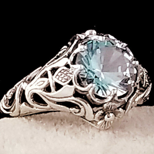 2 Ct. Synthetic Spinel Aquamarine Color Ring, Sterling Silver #30365