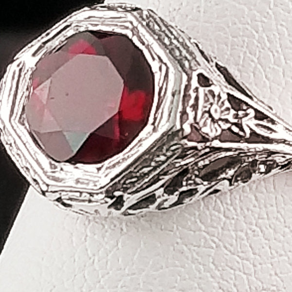 925 Sterling Silver Art Deco Antique Style Genuine Garnet Filigree Ring #30558