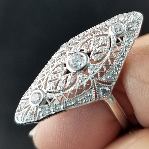 925 Sterling Silver Art Deco Antique Style Cubic Zirconia Ring #30572