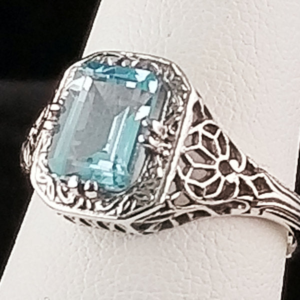 1.75 Ct. Genuine Sky Blue Topaz Art Deco Antique Style Filigree Ring, #30675