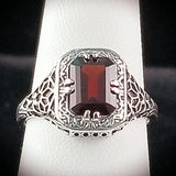 925 Sterling Silver Antique Art Deco Style 2 Carat Genuine Garnet Filigree Ring #30634