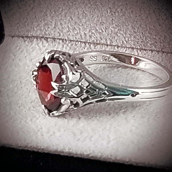 Sterling Silver Antique Art Deco Style Genuine Garnet Filigree Ring #30444
