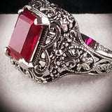 5 Ct. Red Ruby Art Deco Design Sterling Silver Filigree Ring, #30015