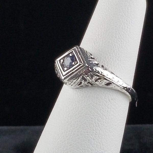 Genuine Sapphire Antique Style .925 Sterling Silver Filigree Ring #30059