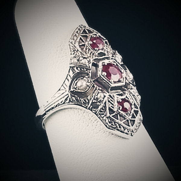 Genuine Ruby Antique Style Art Deco .925 Sterling Silver Filigree Ring #30023