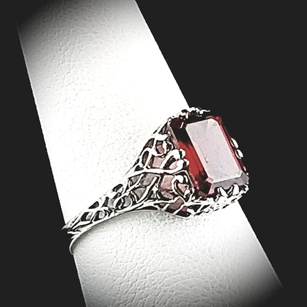 925 Sterling Silver Antique Style 2 Carat Genuine Garnet Filigree Ring #30701