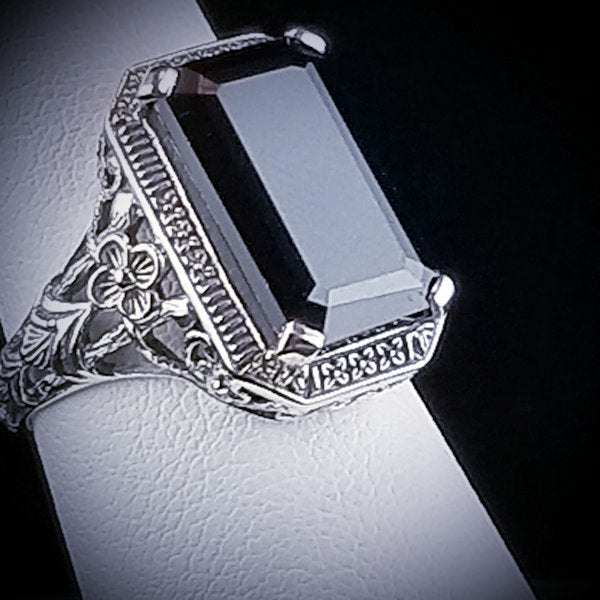 925 Sterling Silver Antique Style Genuine Black Agate Filigree Ring #30762