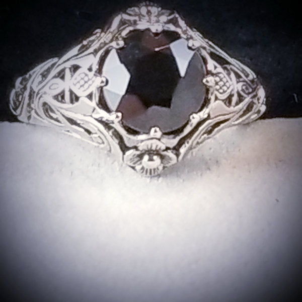 925 Sterling Silver Antique Art Nouveau Style Genuine Black Agate Ring #30761
