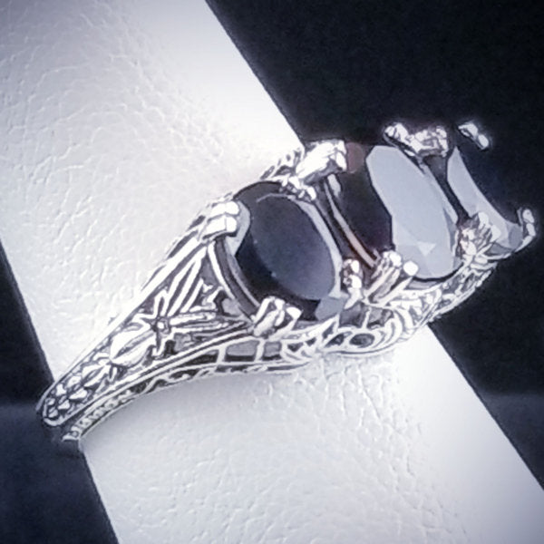 925 Sterling Silver Art Deco Style Genuine Black Agate Three-Stone Filigree Ring #30763