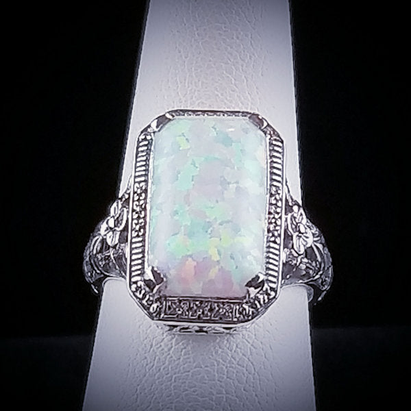 925 Sterling Silver Antique Art Deco Style Opal Filigree Ring #30764