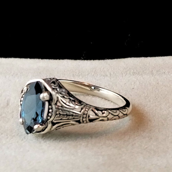 Genuine London Blue Topaz Antique Filigree Style Ring, Sterling Silver #30708