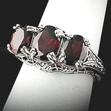 Genuine Garnet 3 Stone .925 Sterling Silver Antique Style Ring, #30249