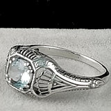 Genuine Aquamarine Ring, Sterling Silver #30287