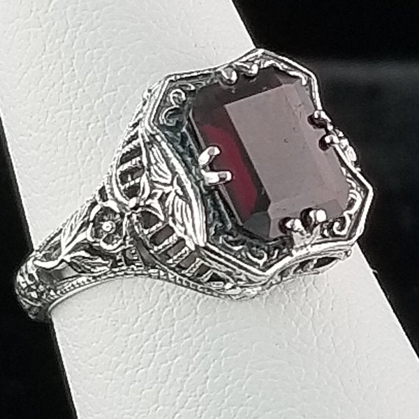 Sterling Silver, 3 Ct. Genuine Garnet Ring #30265