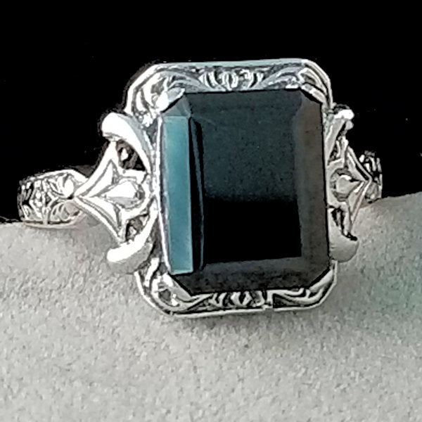 Genuine Black Agate Antique Design .925 Sterling Silver Ring, #30171