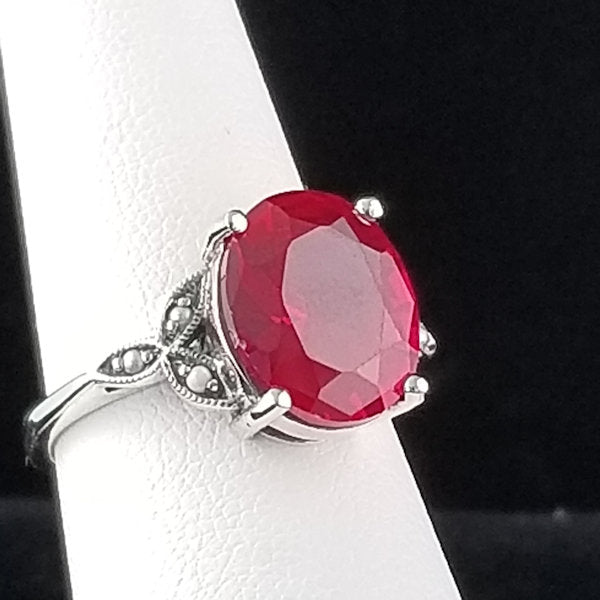 7 CT Red Ruby Pearl Antique Victorian Style Sterling Silver Ring, #30103