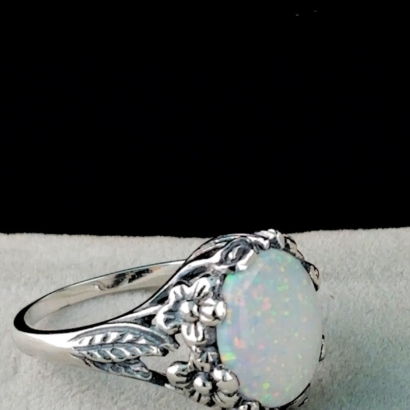 White Opal Ring, Sterling Silver Antique Art Nouveau Reproduction #30275