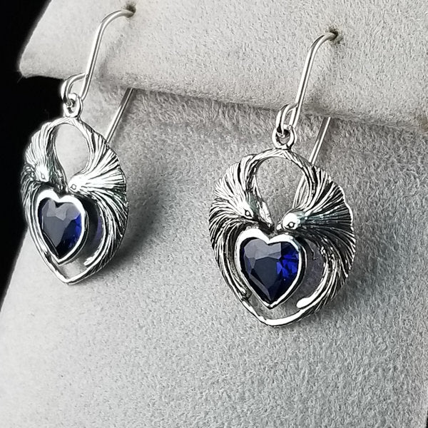 Sterling Silver Sapphire Antique Heart Shaped Lovebird Earrings #30938