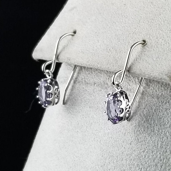 925 Sterling Silver Antique Style Genuine Brazilian Amethyst Earrings #30594