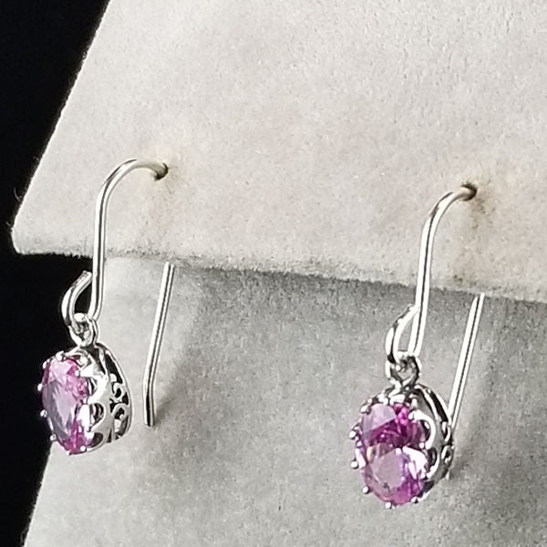 925 Sterling Silver Art Deco Antique Style Pink Sapphire Earrings #30403