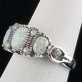 White Opal Victorian Style Ring in Solid Sterling Silver #30143