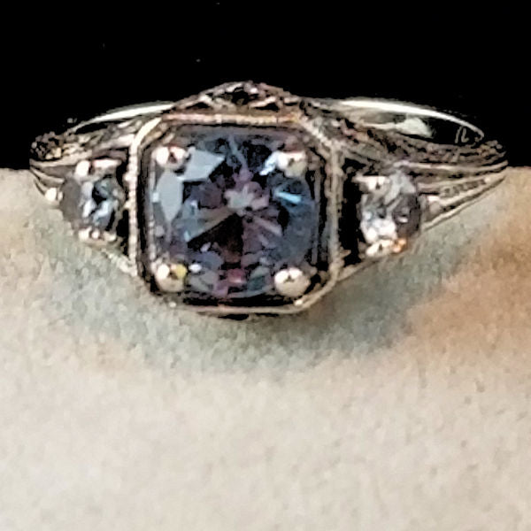 Three-Stone Spinel In Aquamarine Color 925 Sterling Silver Style Art Deco Ring #30131