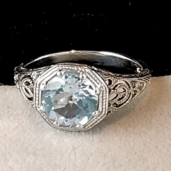 Genuine Sky Blue Topaz Antique Art Deco Style Filigree Ring, #30882