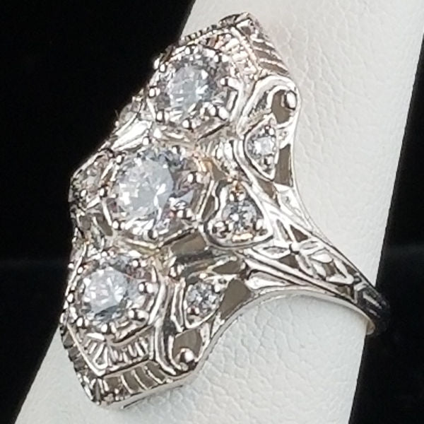 Cubic Zirconia Art Deco Antique Style Filigree Ring, Sterling Silver, Rhodium Plated #30847