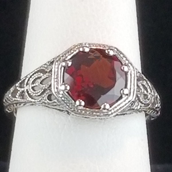 Genuine Garnet Art Deco Antique Style Ring, Sterling Silver #30869