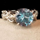 Synthetic Aquamarine Color Antique Victorian Style Mermaid Ring #30827