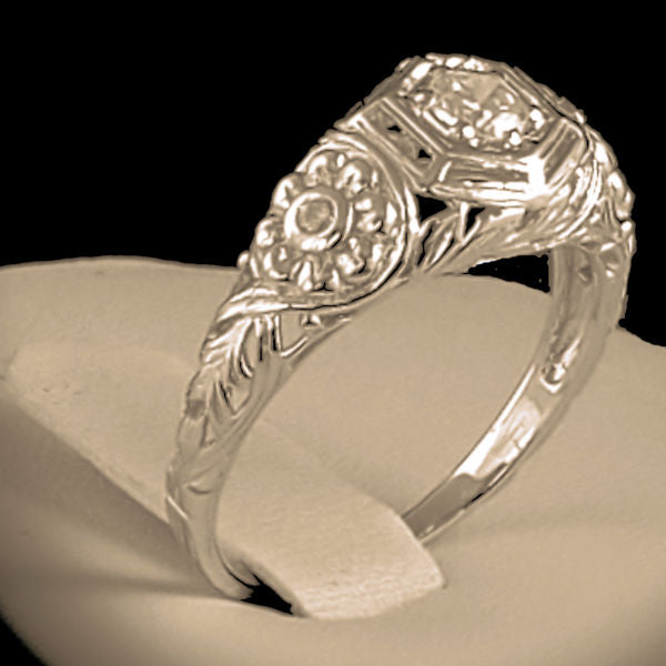 925 Sterling Silver Antique Style Cubic Zirconia Filigree Wedding/Engagement Ring #30839