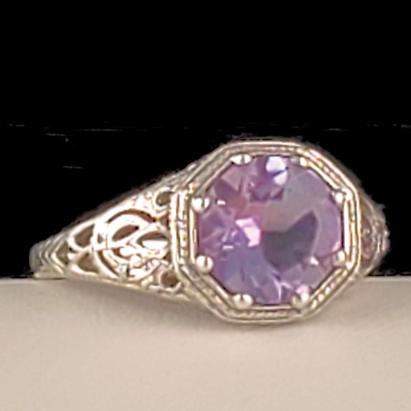 Sterling Silver Antique Art Deco Style Genuine Brazilian Amethyst Filigree Ring #30877