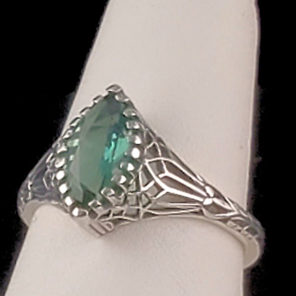 925 Sterling Silver Antique Style Emerald Green Quartz Filigree Ring #30799