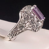 Sterling Silver Antique Filigree Style 3 Carat Genuine Brazilian Amethyst Ring #30452