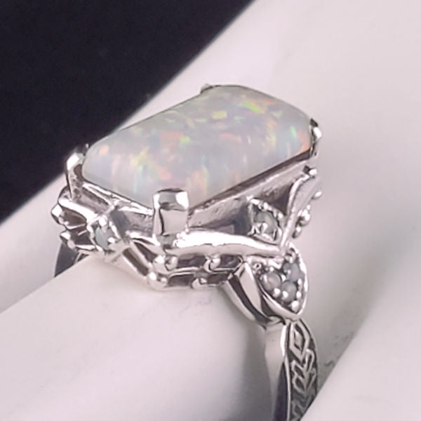 925 Sterling Silver Antique Victorian Style Opal Ring #30462