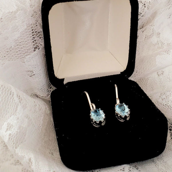925 Sterling Silver Art Deco Antique Design Genuine Sky Blue Topaz Earrings #30438