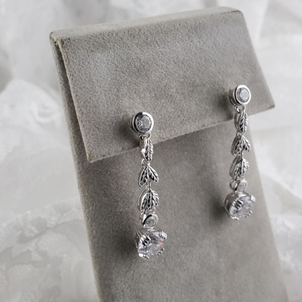 925 Sterling Silver Antique Victorian Style Cubic Zirconia Earrings #30609