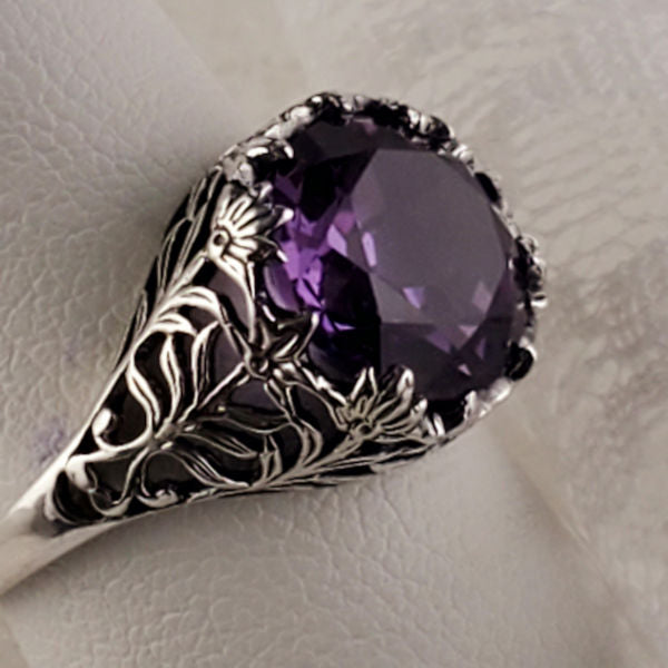 Nearly 5 Carat  Alexandrite Sterling Silver Antique Style Filigree Ring #30320